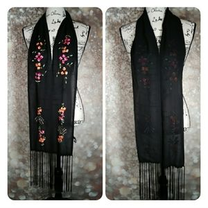 Flower embroidered black sheer scarf